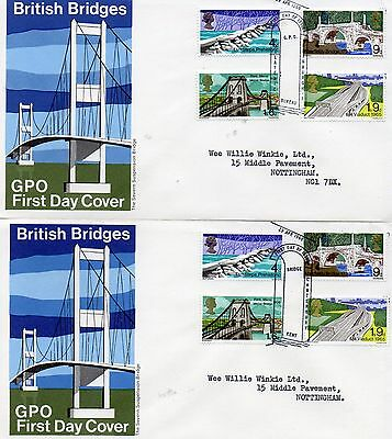 2 pre-decimal Fdc British Bridges 1968 with special cds.