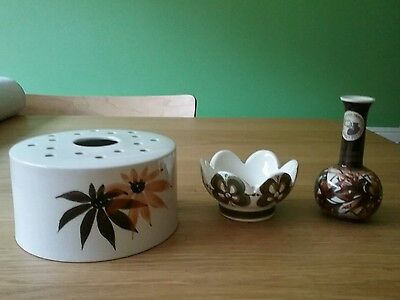 Job Lot Jersey Pottery Ceramic Painted Pin Dish, Vase & Flower Frog. Handpainted