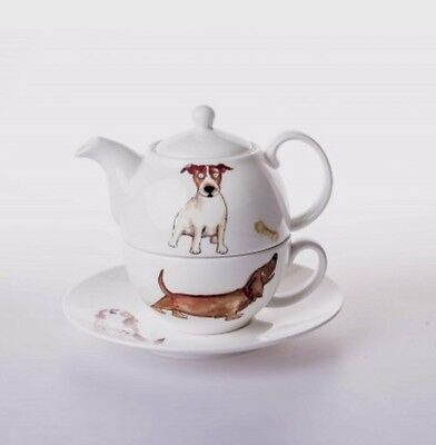 Roy Kirkham English Fine Bone China Dog Lovers Tea for One Gift Set Teapot & Cup
