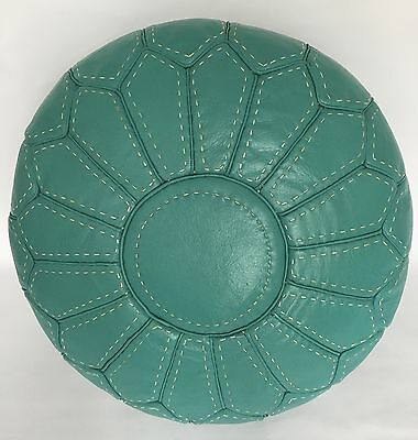 Moroccan Genuine Handcrafted 100% Leather Pouffe Contemporary Turquoise