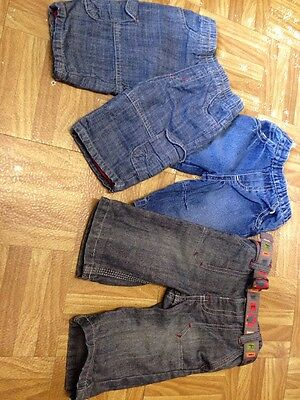 Bundle 3 Pairs Boys Blue Denim Jeans Size Up To 3 Months Good Condition