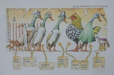 Signed Print By Simon Drew 'great Mistakes In The Farmyard'