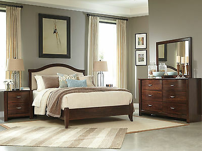 BLYTHE - 5 Pieces Contemporary Brown Queen Fabric Panel Bedroom Set Furniture