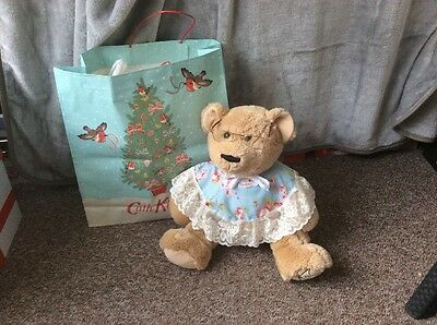 Cath Kidston Large Dressed Bear With Glasses +gift Bag + Birth Certificate