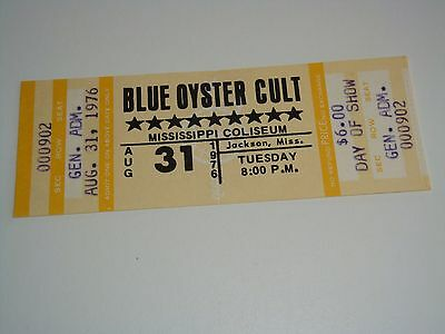 BLUE OYSTER CULT 1976 UNUSED CONCERT TOUR TICKET BOC Donald Buck Dharma Roeser