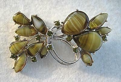 Fab Vintage Signed EXQUISTE Stripey Green Glass Brooch - Murano?