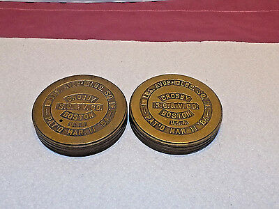 2 Crosby S.g.& V. Co. Boston 4 Lb. Brass Pressure Gauge Weight Mar.11 1884