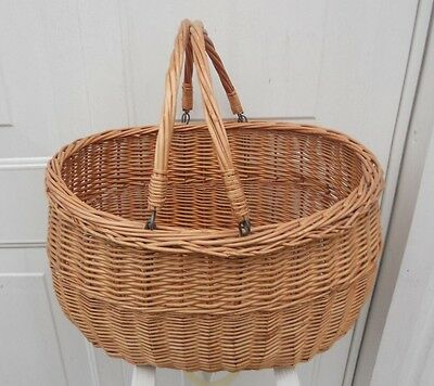 Basket Vintage Wicker Oval Large Shopping Basket With Drop Down Handles