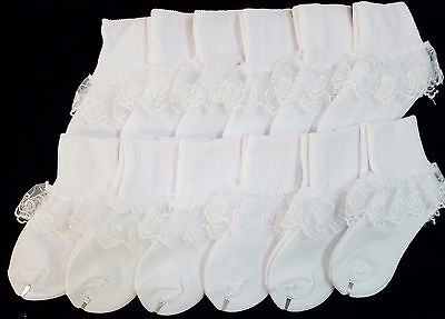 NEW LOT 12 pack WEDDING PAGEANT Heart Lace Kids Girls White Party Nylon Socks