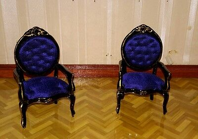 Dolls house Pair of decorative chairs.