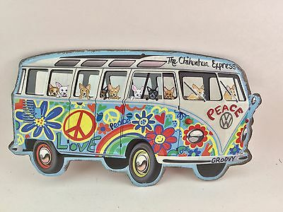 """Tin sign Hippie Bus filled with hand painted Chihuahuas """" The Chihuahua Express"""""""