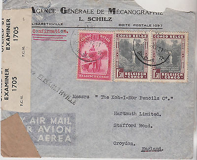 1942 Ww2 Era Belgian Congo Stamps On Censor Cover Mailed To Croydon England