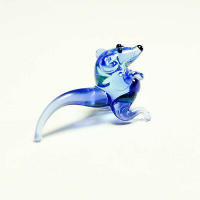 VIDEO Tiny glass figurine blue Rat blown glass Murano handmade miniature Mouse