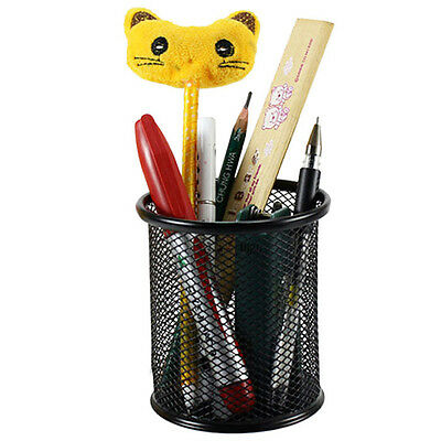 HOT Metal Cylinder Pen Pencil Eraser Stationery Holder Container Office Supplies