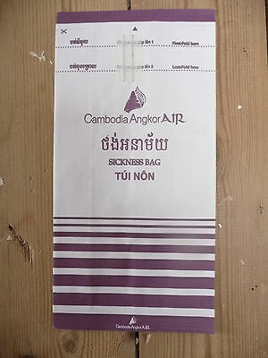 Cambodia Angkor Air Barf Bag Sickness Bag in glorious plum livery!
