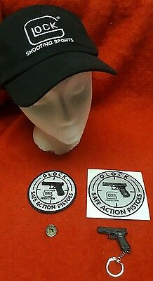 LOT of GLOCK ITEMS-Hat-Patch, Decal, Keychain, & Lapel Pin-LAW ENFORCEMENT