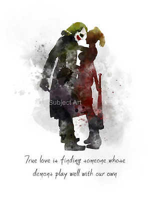 ART PRINT Harley Quinn And The Joker Quote illustration, Wall Art, Gift, Batman
