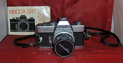 Vintage Minolta Srt 201 35Mm Camera With Manual And Accessories