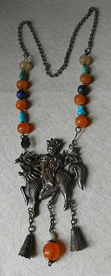 Antique Chinese Silver Qilin Immortal Carved Carnelian Enamel Turquoise Necklace