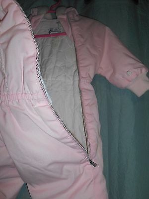 VTG pink quilt baby snowsuit w hood faux fur SNOVERALL Kute Kiddies 6-12 mo? 180