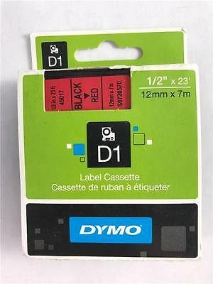"NEW Genuine DYMO D1 45017 Black On Red Label Cassette 1/2"" x 23'"