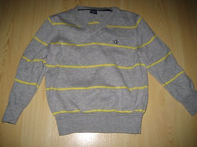 NEW 2 2T Toddler Boy Gray Yellow Striped BABY GAP SWEATER V Neck Bear PULLOVER