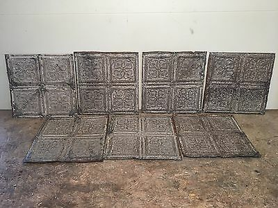 """Lot of 7 pc - 12"""" x 12"""" Antique Ceiling Tin Tile Vintage Reclaimed Salvage Art"""
