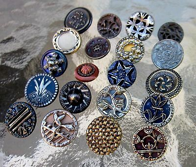 20 Antique BUTTERFLY TOLE CUT STEEL CAGE FLOWER TINTED BRASS METAL Buttons