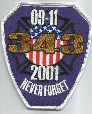 "NYC - Tribute - NEVER FORGET  9-11-2001  (4"" x 4.5"" size) fire patch"