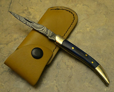 Hand Made Damascus Steel Texas Tooth Pick Knife with Blue Pokka Wood Handle TPB