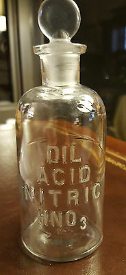 Antique, DIL ACID NITRIC HNO3, Clear Glass Apothecary Bottle