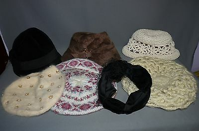 Ladies Vintage Hats Lot of 7 Straw Beret Hat Pin Netting