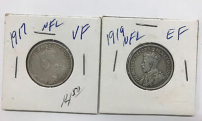 Two Canada George V Silver Twenty Five Cent Coins 1917 and 1919