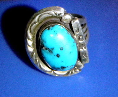 """VINTAGE TAXCO SW ? JIM BEGAY STERLING SILVER RING """"john"""" Turquoise w/ silver"""