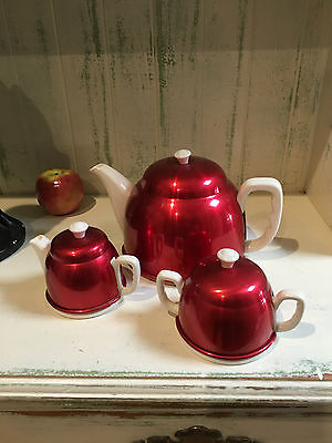 Vintage anodised Cherry Red teapot set - 3 piece