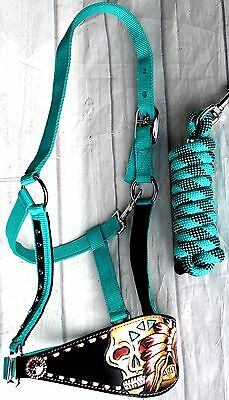 Horse Noseband Tack Bronc Leather HALTER Tiedown Lead Rope  280722