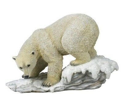 "11.5"" Wild Polar Bear On Snow Wildlife Statue Animal Decor Figure Sculpture"