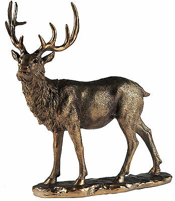 Large Standing 32cm Stag Bronze Effect Ornament / Figurine