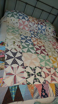 "Antique QUILT TOP Multi-Color, Pieced, PINWHEEL VARIATION, 84""X58"""