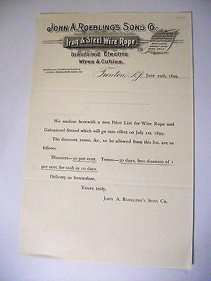 "Collectible 1899 Letter Head ""JOHN A. ROEBLING'S SONS CO."" Wire Rope-Trenton,NJ"