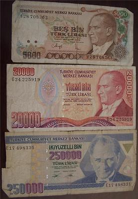 1992 5000 Lira, 1995 20,000 Lira, 1992 250,000 Lira Notes Turkey 3 Notes / 1 Lot