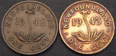 1942 and 1943c One Cents New Foundland Canada - Canadian Cents