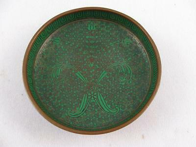 Antique/vintage Chinese Emerald Green Cloisonne Enamel On Copper Small Bowl