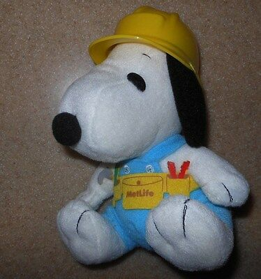 """Rare Metlife Peanuts Snoopy Construction Worker W/ Hardhat 7"""" Stuffed Plush Toy"""