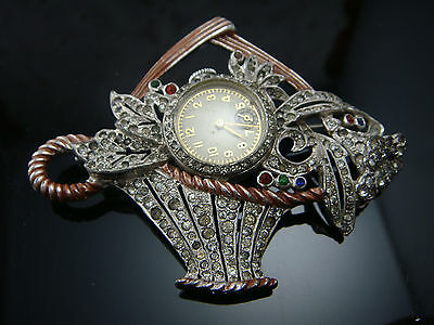 Vintage Art Deco Flower Basket Rhinestone Enamel Pave Watch Pin Brooch It Runs!