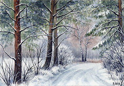 "Watercolor Original 5"" x 3,5"" Painting a Day Winter by Elena Mezhibovsky"