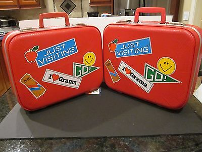 Vintage Pair Red Child's Suitcases Hard Shell Going To Grandma's Just Visiting
