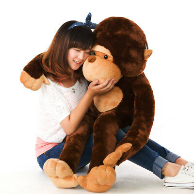 AU Stuffed Large 130CM Big Brown Plush Monkey Huge Soft 100% Cotton Doll Toy