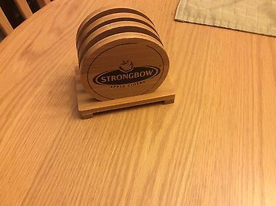 Set Of 4 Strongbow Cider Wood Coasters With Stand