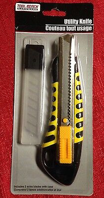 Box Utility Cutter Knife 3 Blades And Case Sharp Retractable Snap off Razor Tool